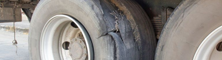 Shredded truck tire