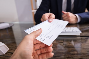 employee receiving check