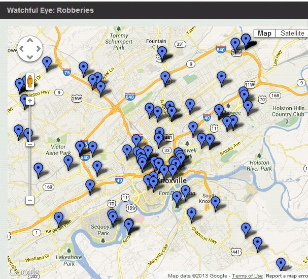 Crime Map from the Knoxville News Sentinel Watchful Eye